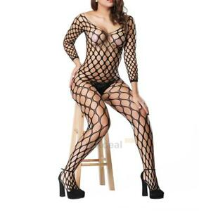 Image Is Loading Sheer Bodystocking Crotchless Bodysuit Sexy Fishnet Lingerie Women