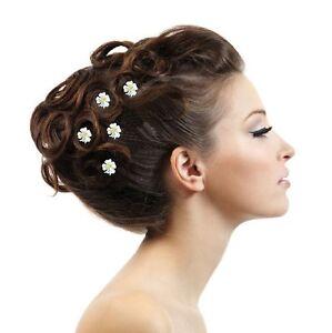 5-Haarnadeln-Edelweis-weis-gold-farbig-Blume-Blute-Hochzeit-Stras-Tiara-Diadem