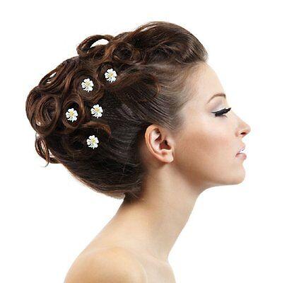 5 Haarnadeln Edelweiß weiß gold -farbig Blume Blüte Hochzeit Straß Tiara Diadem