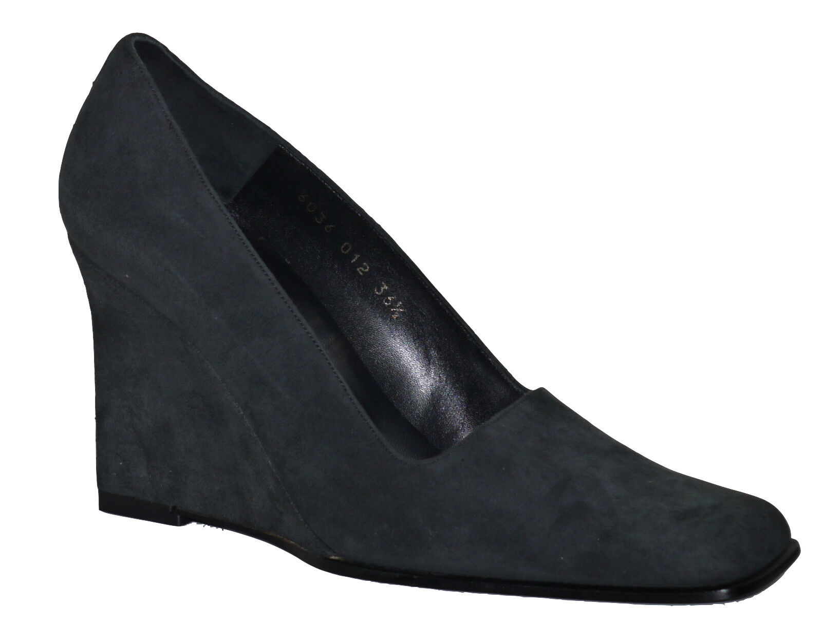 Pura Lopez Grau Suede Wedge Schuhes Slip On's NIB SP