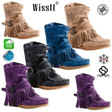 Women/'s Suede Slouch Tassel Flat Heels Ankle Boots Winter Warm Increased