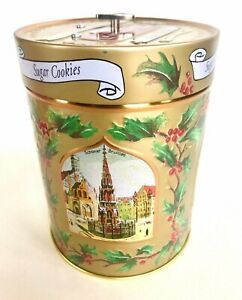 Germany-Gold-Embossed-Tin-Cookie-Music-Box-2003-Christmas-Carol-Oh-Holy-Night