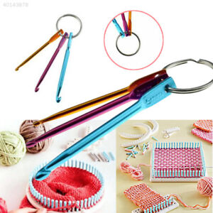 07C8 3pcs Aluminum Knit Needle Crochet Hook Keychain Keyring Gift Knit Weave