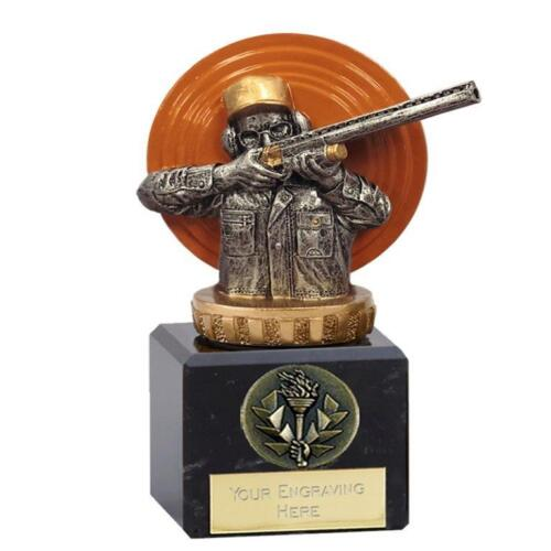 137b FX066 CLAY PIGEON TROPHY SIZE 12CM ENGRAVING FREE OF CHARGE
