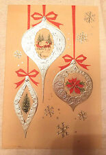 Vintage Christmas Card USA Silver Tree Ornaments Horse Sleigh Pointsettias Old