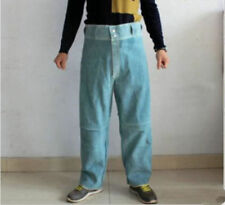 Thermal Insulation 300 Degree Cowhide Welding Leather Pure Leather Pants Blue