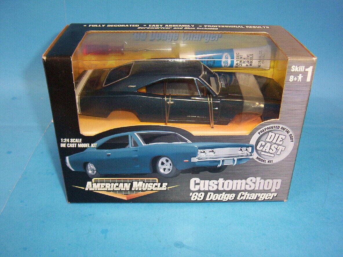 Ertl American Muscle Custom Shop 69 Dodge Charger Diecast Model Car Kit Blue For Sale Online