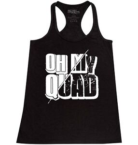 Oh My Quad Racerback Tank Top Funny Workout Gym Fitness Exercise Squat Tee