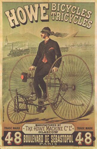 """print Cycle 1878 HOWE Antique Bicycles 17/""""x11/"""" Vintage Bike Advertisement"""