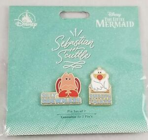 New-Disney-Store-Sebastian-and-Scuttle-Collector-Pin-Set-The-Little-Mermaid