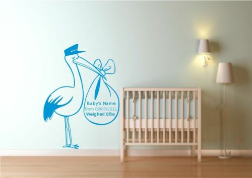 Personalised New Born baby Stork Wall Sticker Decal Mural Transfer Art Stencil