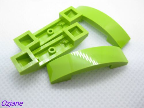 LEGO PART 93273 LIME SLOPE CURVED 4 X 1 DOUBLE NO STUDS 4 PIECES NEW