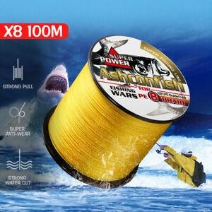100m-109yds-8-Strands-6-300LB-PE-Multifilament-Braided-Fishing-Line-ALL-sizes