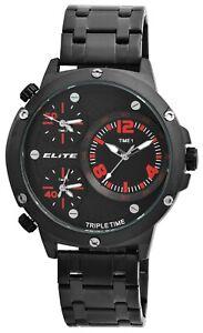 Elite-Herrenuhr-Schwarz-Rot-Tripe-Time-3-Zeiten-Analog-Armbanduhr-X2800062001