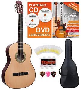 4-4-Konzertgitarre-Akustikgitarre-Klassikgitarre-Gigbag-Tasche-DVD-CD-Set