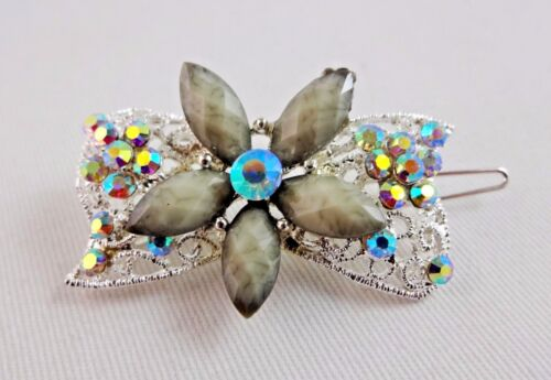 Flower Barrette Gray Aurora Borealis Crystals Silver Tone Metal Hair Accessory