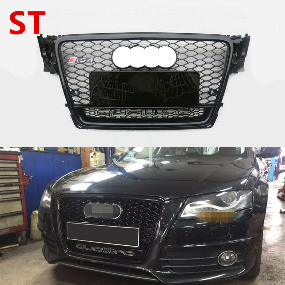 for audi a4 b8 sedan 2009 12 black front mesh grille grill. Black Bedroom Furniture Sets. Home Design Ideas