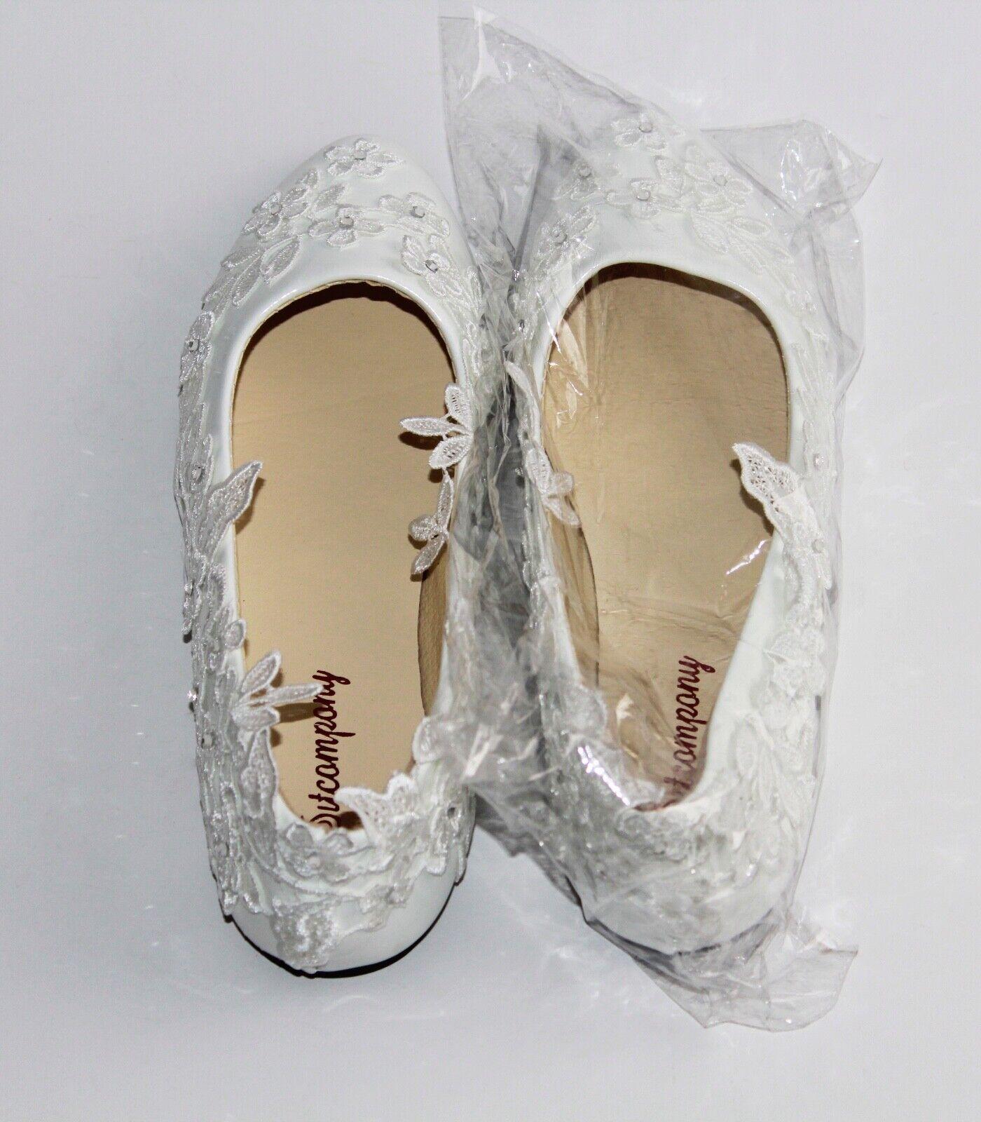 Wedding Bride bridal shoes White Lace Size 5 UK Flat Beach Summer Holiday Retro