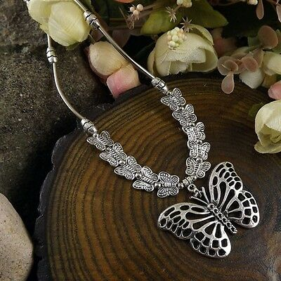 New nice butterfly Pendant Long Tibetan Silver vintage Necklace Women girl 16""