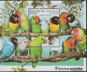 Laos-Block160-kompl-Ausg-postfrisch-1997-Papageien