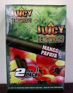JUICY-HEMP-WRAPS-Mango-Papaya-Box-of-25-Packs-2-per-pack-Sealed
