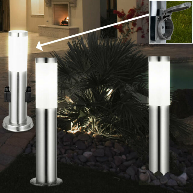 Set of 2 LED Solar Socket Lamps IP44 Stainless Steel Garden Path Outdoor Lights