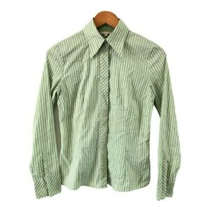 G2000-Women-039-s-Striped-Shirt-Size-9-Green-White-Collared-Long-Sleeve-Button-Up