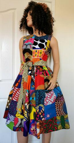 /'Patchwork/' African Printed Fabric Sleeveless Midi Dress 100/%Wax Cotton Handmade