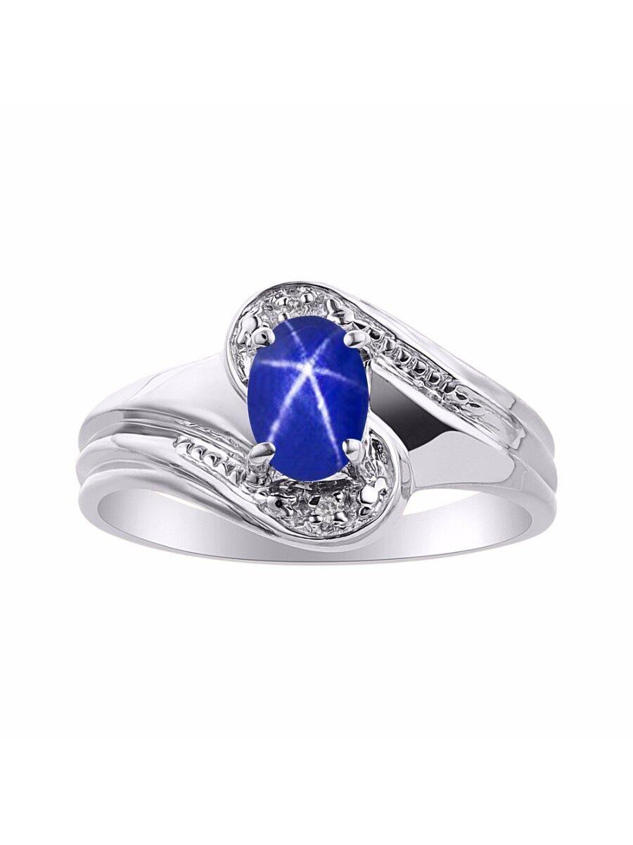 Diamond & bluee Star Sapphire Ring Set In 14K White gold - color Stone Birthstone