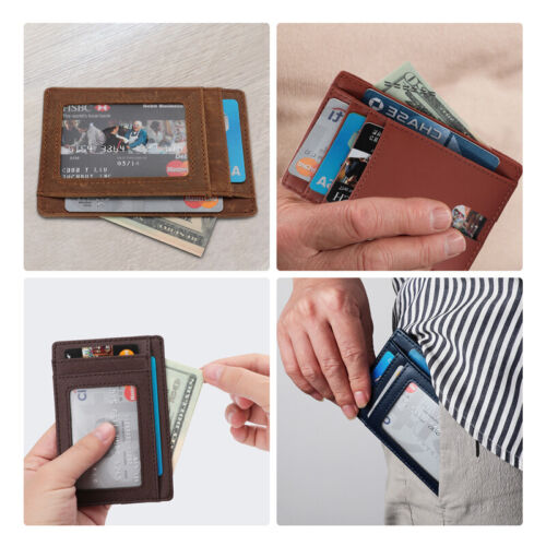 Genuine Leather Slim ID Card Holder Wallets For Men Minimalist RFID Blocking