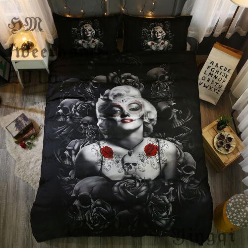 Marilyn Monroe /& Rose Black Bedding Set Duvet Cover Bedding Comforter Sets Queen