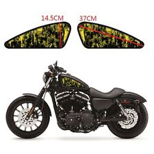 2PCS Yellow Skeleton Gas Tank Decals Emblem Badges Stickers For Harley