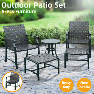 5 PCS Outdoor Patio Furniture Dining Chairs Set Side Table Sofa Fast Shipping US