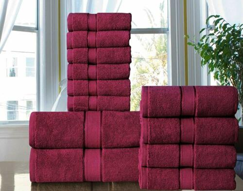 100/% Combed Cotton Spa// Hotel Quality 600 GSM Bathroom 12 Piece Towel Set RED