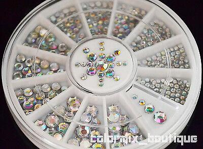 Silver holographic glitter rhinestoneMagic color Nail Art Decoration 4 sizes
