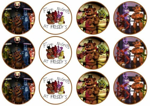 Cinq Nights at Freddy/'s Edible Plaquette Cup Cake Toppers debout ou disque FNAF
