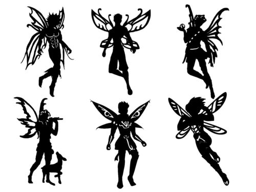 Les Cut Outs Silhouette fois on Fairies formes Toppers Card Making fairy jar