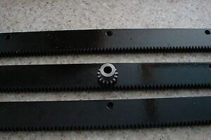 CNC-Stepper-Motor-Mech-Rack-amp-Gear-72-034-Rack-3x24-034-pcs-8mm-15T-Pinion-Gear