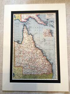 Antik-Karte-Druck-Queensland-Australischer-Australien-Brisbane-Vintage-Kunst