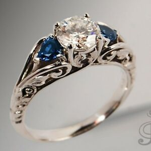 Antique-Jewelry-925-Silver-White-amp-Blue-Sapphire-Ring-Proposal-Engagement-Jewelry