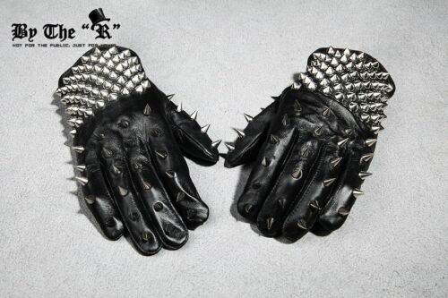 ByTheR Black Men/'s Punk Rock Metal Stud Custom Rider Biker Leather Gloves UK
