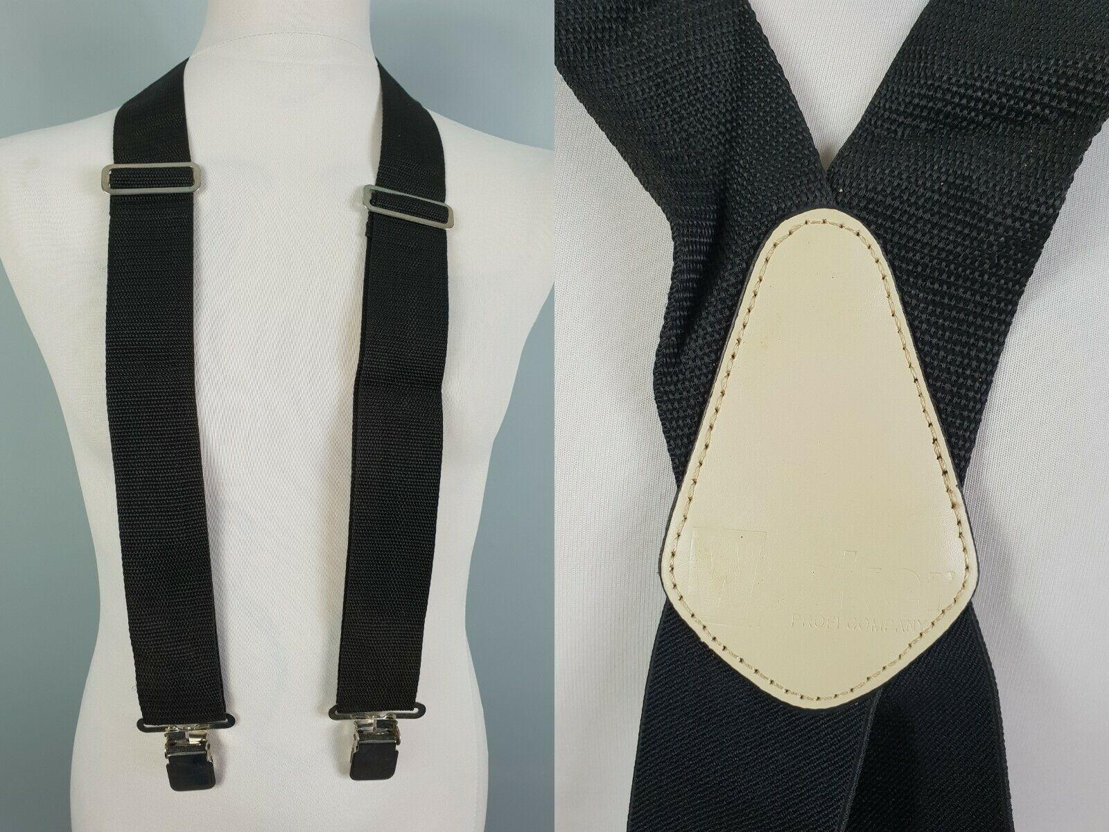 Chunky Black X Fit Wide Clip On Braces Suspenders Worker SE09
