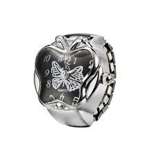 Black Dial Pretty Butterfly Silver Steel Case Finger Ring Watch Quartz Lady Girl