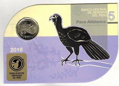 Peru 2018 Coin 1 Sol Endangered Wildlife Pava Aliblanca