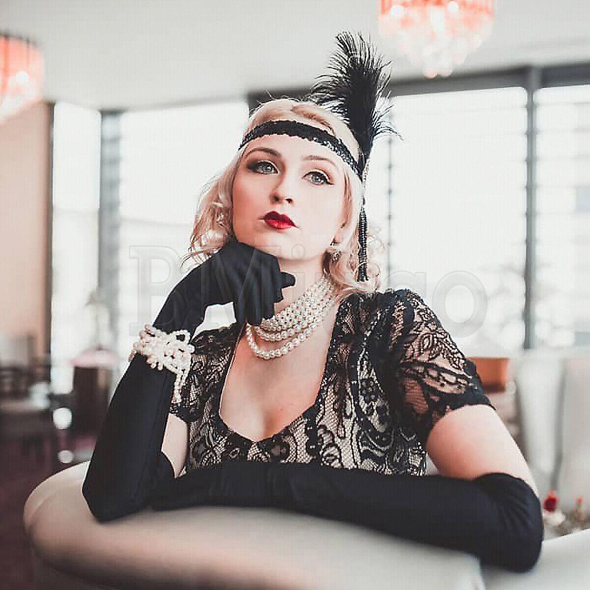1920s Flapper Gatsby Dress Lace Tassels Fringe Evening Prom Gown Black Dresses
