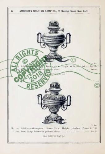 American Belgian Lamp Co 1891 CATALOGUE decorative oil burner lamps SAMPLES wick