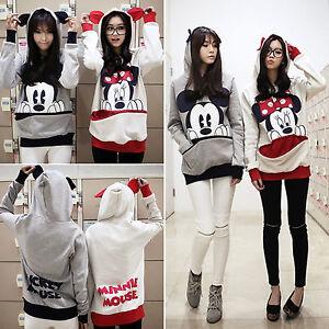 Women Mickey Mouse Hoodie Hooded Sweatshirt Long Sleeve Pullover Jumper Tops 2XL