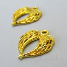50pcs gold tone 17x5mm 2sided wing design charms  H1653