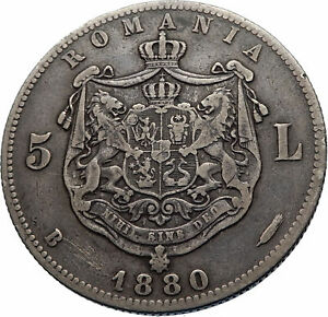 1880-LARGE-Romania-Silver-5-Lei-w-CAROL-I-and-COAT-OF-ARMS-Antique-Coin-i71828
