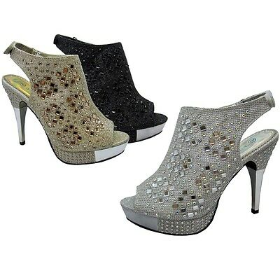 Women's Pumps Platform High Heel Peep Toe Stiletto Rhinestone Shoes Party Sizes